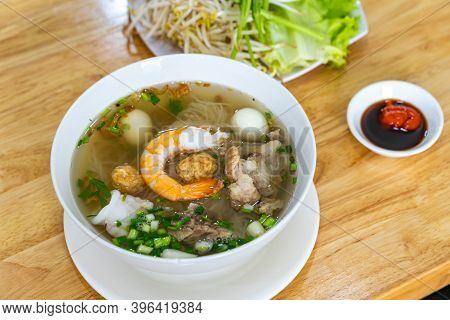 Bowl Of Delicious Shrimp And Pork Noodle- Vietnamese Cuisine