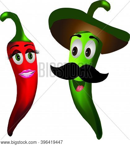 Red And Green Chili Peppers, Red Woman Chili And Man Chili