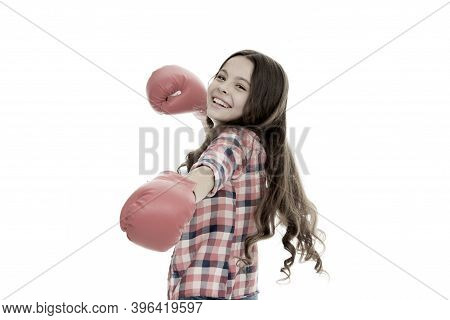 Girls Power Concept. Upbringing Confidence And Strong Character. Female Rights And Liberties. Girl B