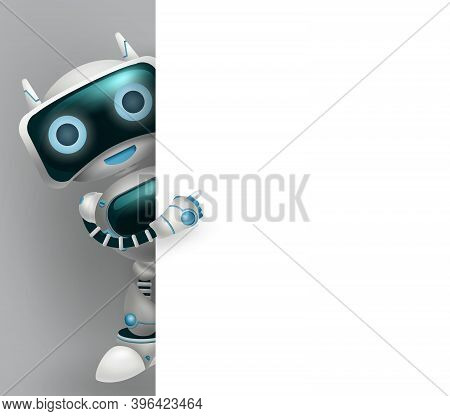 Robot Vector 3d Character Background Design. Robotic Character Showing Empty White Board Element Wit