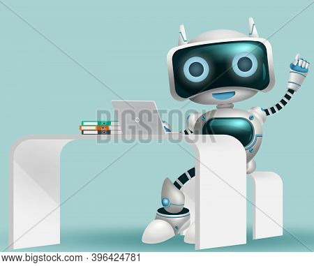 Robot 3d Information Character Background Design. Robotic Help Desk Assistant Character Sitting And