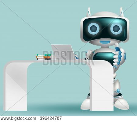 Robot 3d Information Character Vector Background Design. Robotic Help Desk Character Happy Standing