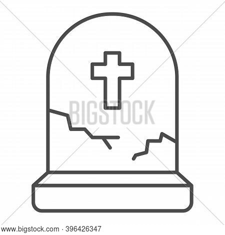 Grave With Cross Thin Line Icon, Halloween Concept, Grave With Crack Sign On White Background, Aband