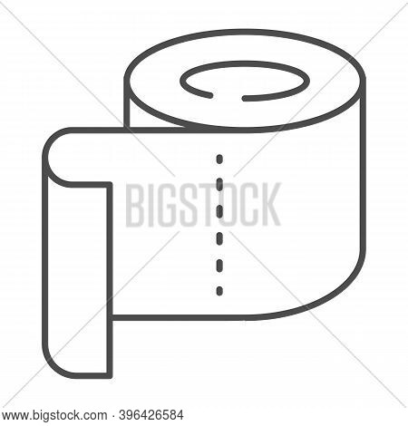 Roll Of Toilet Paper Thin Line Icon, Hygiene Routine Concept, Roll Paper Towel Sign On White Backgro