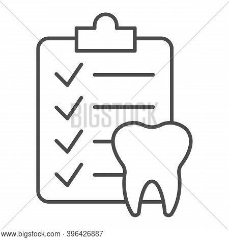 Dental Checklist And Tooth Thin Line Icon, Hygiene Routine Concept, Teeth Diagnostic Report Sign On