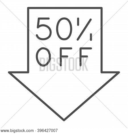 Down Arrow With Fifty Percent Discount Thin Line Icon, Black Friday Concept, Advertising Fifty Perce