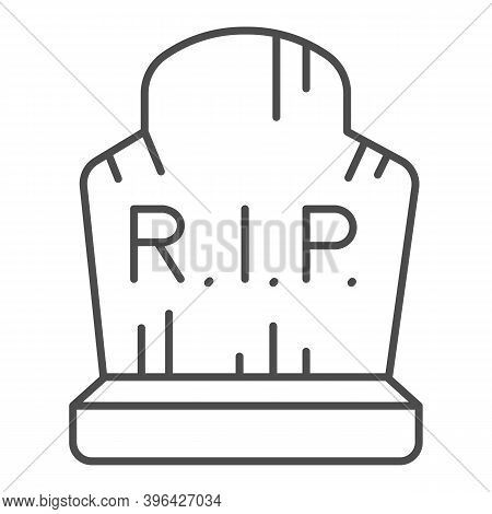 Grave With Inscription Rip Thin Line Icon, Halloween Concept, Grave With Scratches Sign On White Bac