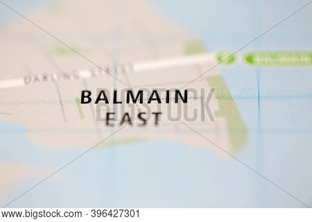 Shallow Depth Of Field Focus On Geographical Map Location Of Balmain East Sydney Australia Asia Cont
