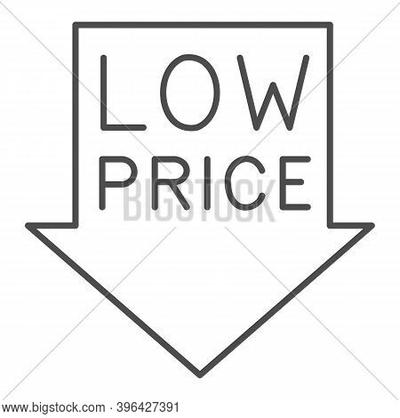 Down Arrow With Text Low Price Thin Line Icon, Black Friday Concept, Low Price Sign With Arrow Down