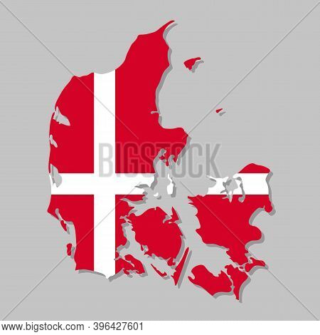 Danish Flag On The Map. High Detailed Denmark Map With Flag Inside. European Country Borders Vector