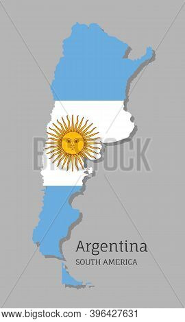 Map Of Argentina With National Flag. Highly Detailed Editable Map Of Argentina, South America Countr
