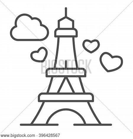 Eiffel Tower With Heart Thin Line Icon, Valentine Day Concept, Romance Travel Sign On White Backgrou