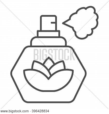 Perfume With Lotus Flower Thin Line Icon, Hygiene Routine Concept, Spray Fragrance Sign On White Bac
