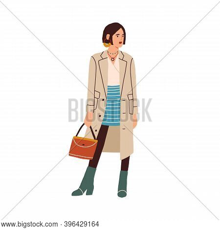Elegant Fashion Outfit. Cute Stylish And Fashionable Look Of Modern Woman Wearing Trendy Skirt, Coat