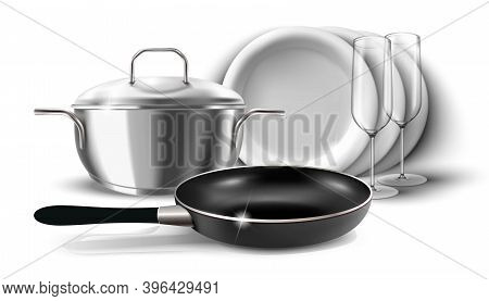 3d Realistic Vector Icon Illustration Of Kitchen Dishes, Pan And Pot With A Cover. Isolated On White