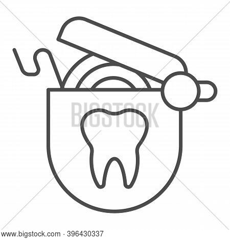 Roll Of Dental Floss Thin Line Icon, Hygiene Routine Concept, Floss To Clean Teeth Sign On White Bac