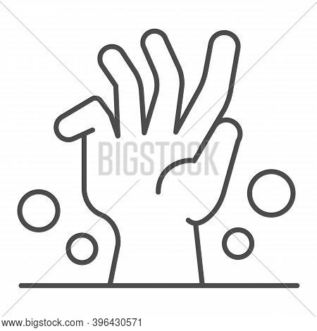 Dead Man Hand Under Ground Thin Line Icon, Halloween Concept, Zombie Hand Breaking Out From Under Gr