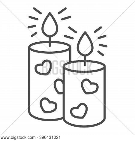 Romantic Aroma Candle Thin Line Icon, Valentine Day Concept, Candles With Heart Sign On White Backgr