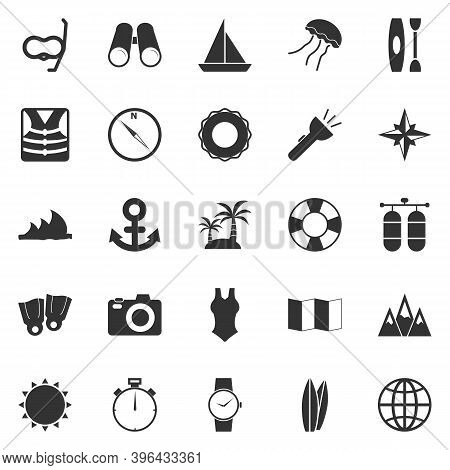 Diving Icons On White Background, Stock Vector