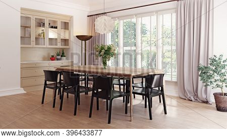 modern dinner room interior. 3d rendering design concept