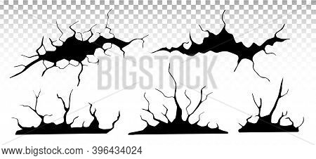Ground Cracks Set. Earthquake And Ground Cracks, Hole Effect, Craquelure And Damaged Wall Texture. V