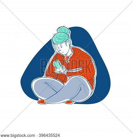 Girl Corresponds In The Phone. Love Correspondence. Cartoon Contour Illustration In A Vector.