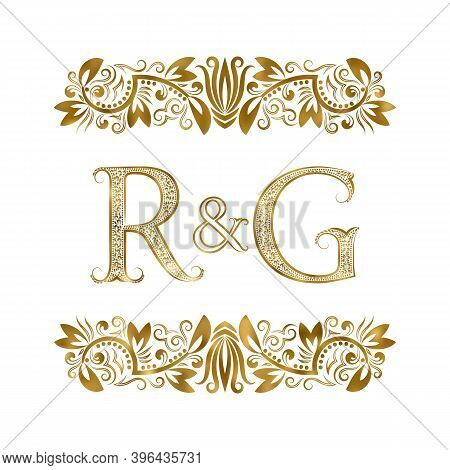 R And G Vintage Initials Logo Symbol. The Letters Are Surrounded By Ornamental Elements. Wedding Or