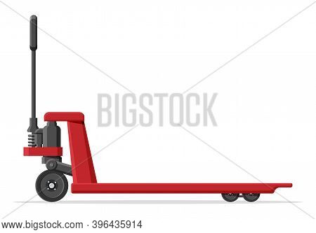 Hand Pallet Jack Lift Isolated On White. Empty Hand Pallet Truck. Red Cargo Cart Or Forklift. Delive