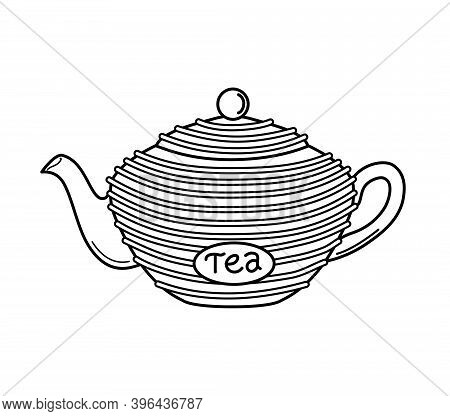 Teapot In The Outline Style On A White Isolated Background. Vector Illustration. Icon. Coloring Book