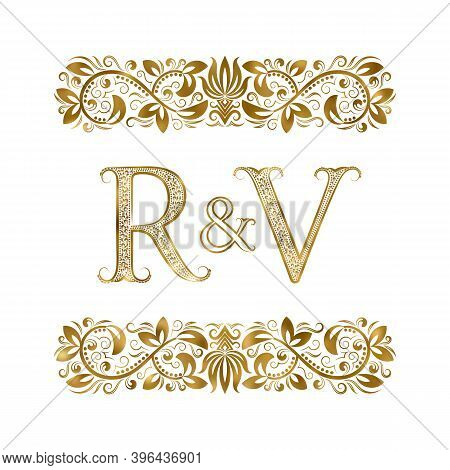R And V Vintage Initials Logo Symbol. The Letters Are Surrounded By Ornamental Elements. Wedding Or