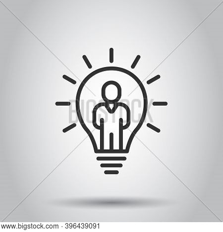 People With Bulb Icon In Flat Style. Idea Vector Collection Illustration On White Isolated Backgroun