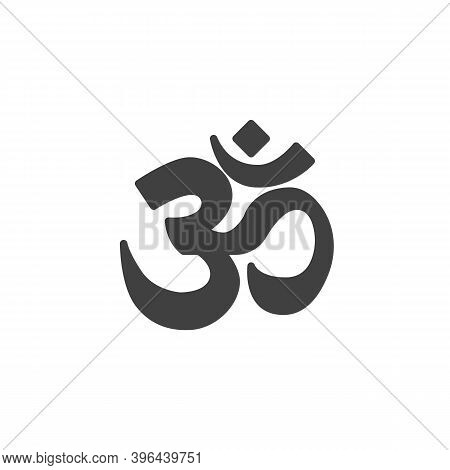 Om Sign Vector Icon. Filled Flat Sign For Mobile Concept And Web Design. Glyph Icon. Aum Om Symbol,