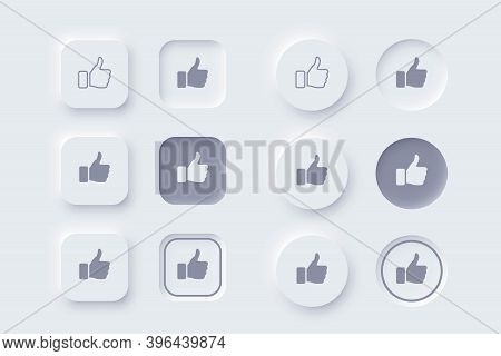 Vector Editable Neomorphic Interface. Buttons Like And Dislike, Round, Square Shapes For Websites An