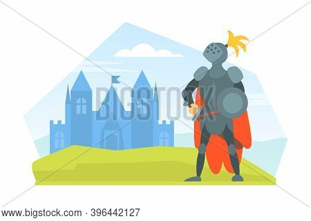 Medieval Knight Warrior In Full Armour Standing On Nature Landscape With Castle Cartoon Vector Illus