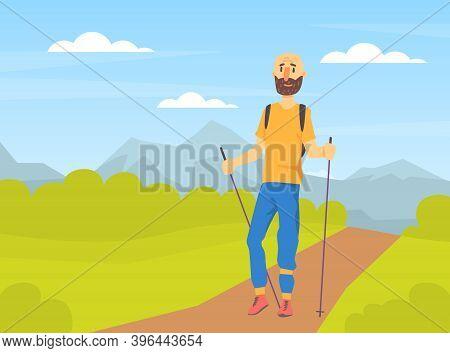 Mature Bearded Man Performing Nordic Walking In Park, People In Sports Outfit Enjoying Walking In Op