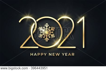 Happy New Year 2021. Happy New Year Background. Golden Text With Snowflake And Stylized 2021 Number.