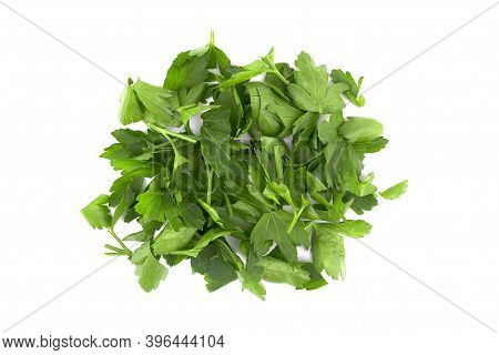 Fresh Green Chopped Parsley Leaves Isolated On White Background. Spicy Aromatic Sliced Raw Herbs Of