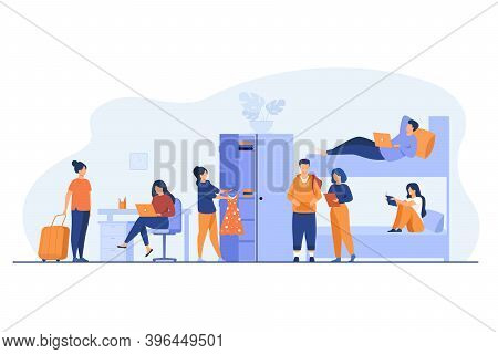 College Student Dorm Interior. Young Travelers Stopping In Hostel. Vector Illustration For Alternati