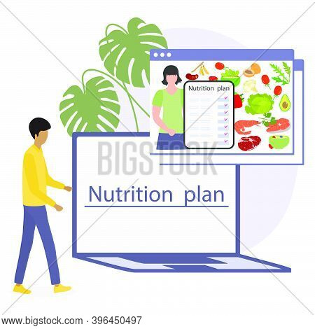 Vector Illustration Nutrition Consultant Online Explains Diet To Human. Proper Nutrition. Organic Me