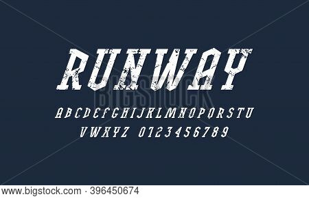 Oblique Narrow Serif Font. Bold Face. Letters And Numbers With Vintage Texture For Logo And Emblem D