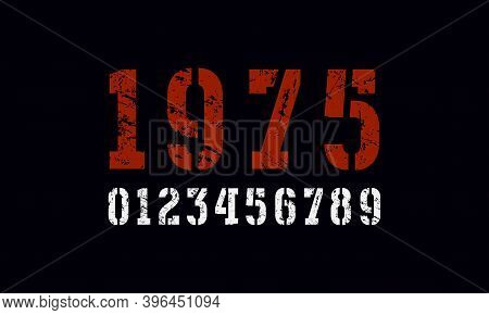 Stencil-plate Serif Numbers In Military Style. Print With Rough Texture On Black Background
