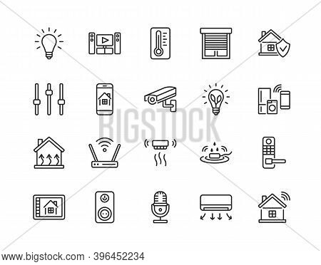 Smart House System Flat Line Icon Set. Vector Illustration Wireless Home Control And Remote Monitori