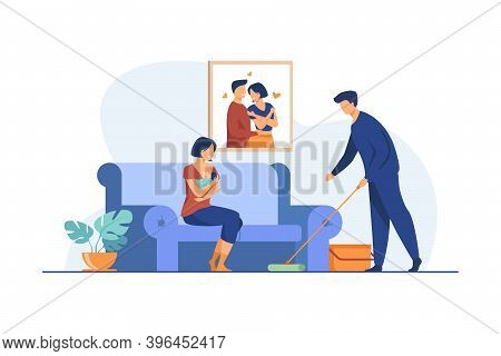 Loving Man Helping With House Routine When Woman Feeding Baby. Breast, Family, Newborn Flat Vector I