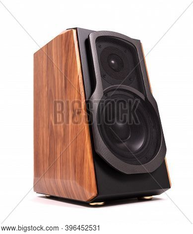 Isolated Wood Speaker, Modern Bluetooth Speaker On White