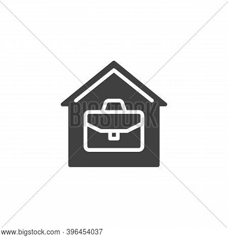 Home Office Vector Icon. House With Briefcase Filled Flat Sign For Mobile Concept And Web Design. Wo