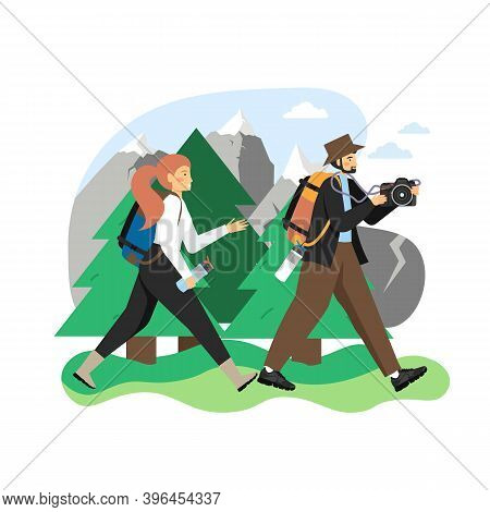 Hike Scene, Flat Vector Illustration. Traveler, Hiker Couple With Backpacks, Camera, Water Bottles G