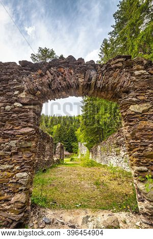 Historic Stone Buildings Near The Spania Dolina Village, Slovakia, Europe