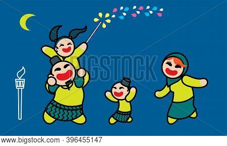 A Happy Muslim Family Playing Fireworks Together. Background With Raya's Elements. Vector.