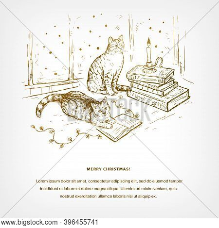 Christmas Hand Drawn Sketch Vector Background With Books, Cats, Candle And Garland. Cats Are Sitting