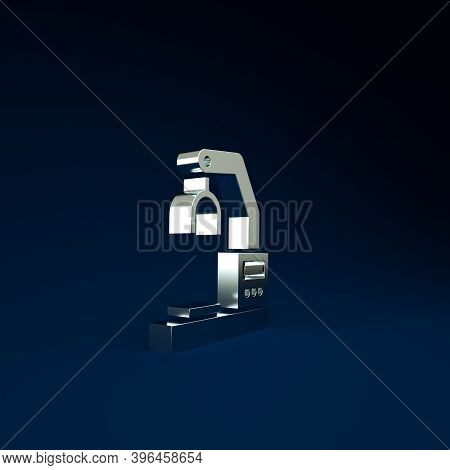 Silver Industrial Machine Robotic Robot Arm Hand Factory Icon Isolated On Blue Background. Industria